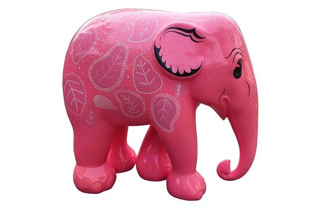 paardrijden roze olifant